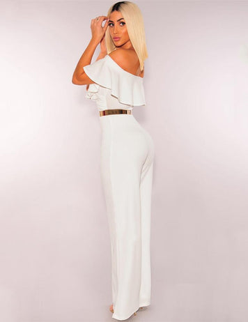 Ruffled Off the Shoulder Pockets Sexy Cool Jumpsuit