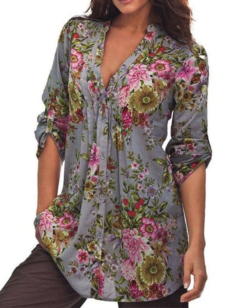 V-Neck Half Sleeve Floral Print Grey Blouse