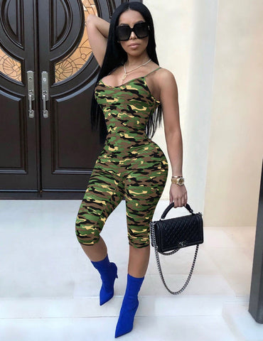 Sexy Slip Camouflage Print Slim Body Jumpsuit