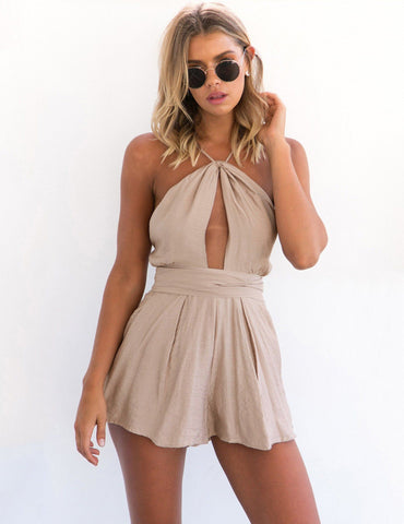 Slip Sexy Keyhole Backless Straps Belt Playsuit