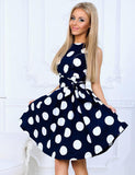 Fashion Summer Boat Neck Polka Dot Sleeveless Mini Dress
