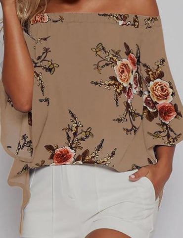 Sexy Flare Sleeve Floral Print Off Shoulder Slit Blouse