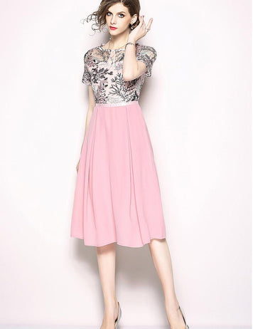 A-line Pink Tulle Embroidered Short-Sleeved Hollow Stitching Midi Dress
