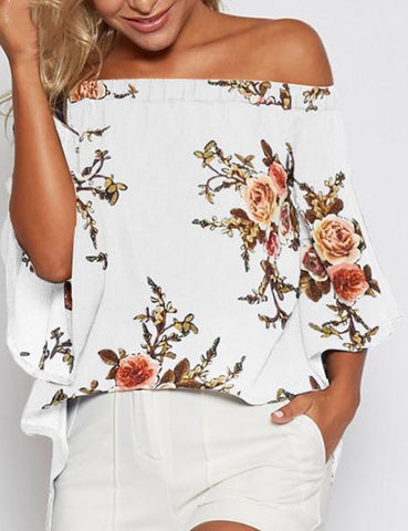 Sexy Off Shoulder Slit Hem Floral Print Blouse