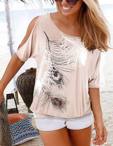 Feather Print Casual Round Neck Cold Shoulder T-Shirt