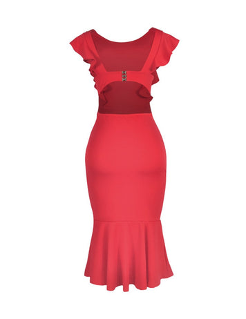Sexy Ruffle Sleeveless Party Club Midi Bodycon Dress