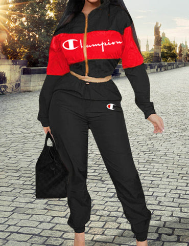 Black Windbreaker Long Sleeve & Pants Sports Suit