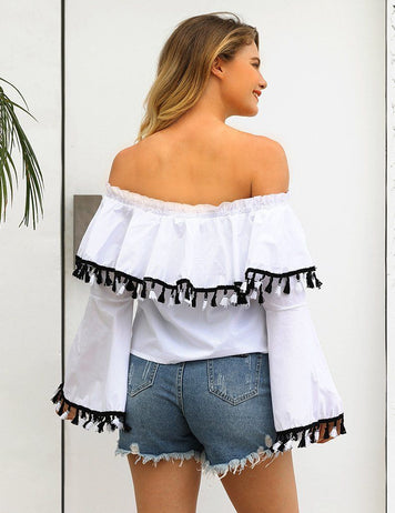 New Off Shoulder Sexy Ruffled Fringed Trumpet Long-Sleeved Blouse