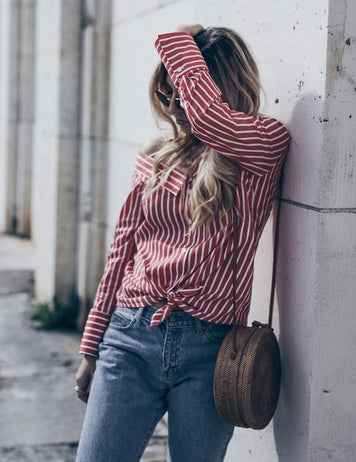 Long Sleeve One Shoulder Burgundy Striped Blouse