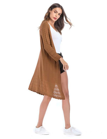 Fashion Solid Long Sleeved Plaid Kint Cardigan