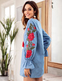 Denim Blue Drawstring V-Neck Embroidered Lantern Long Sleeve Loose Casual Mini Dress