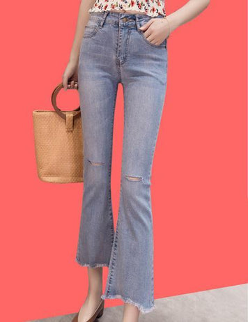 Spring and Autumn Solid Micro-Horn Nine-Points Jeans