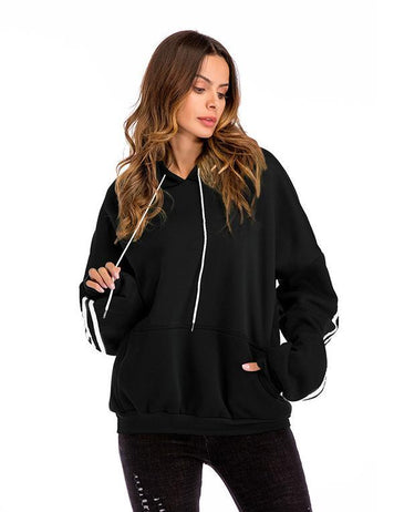 New Autumn Long Sleeve Pockets Velvet Thick Bat Hooded Sweatshirt