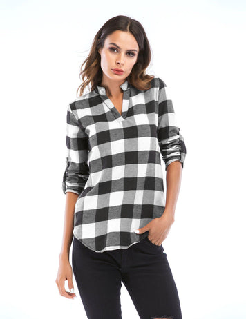 2018 Autumn Plus Size Small V-Neck Plaid Long-sleeved Slim Causal Blouse
