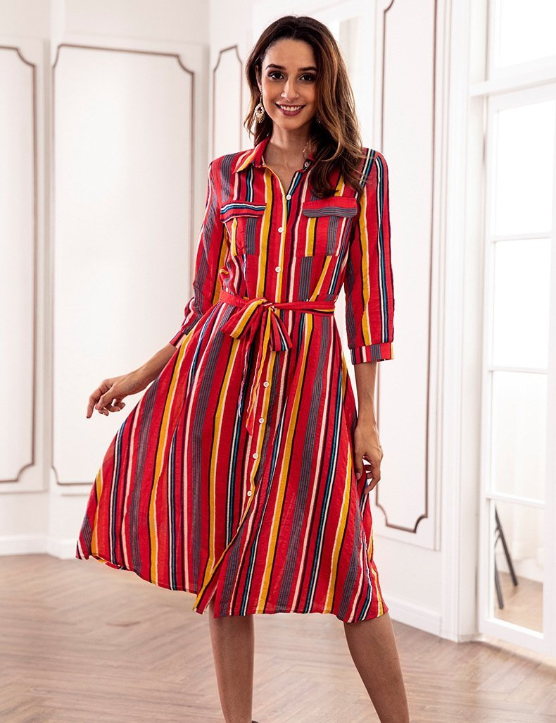 Autumn Colorful Striped Print Loose Button Pocket Belt Casual Midi Dress