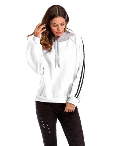 Casual Loose Long Sleeve Stitching Plus Size Hooded Sweatshirt