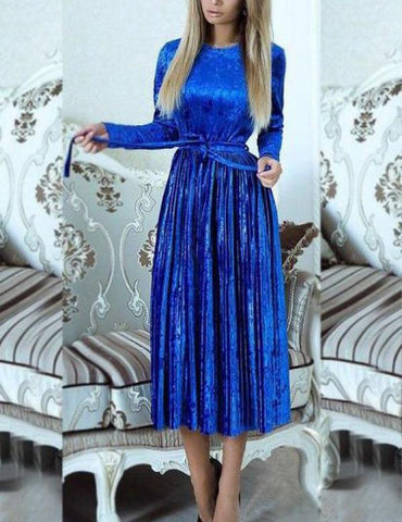 A-Line Long Sleeve Belted Solid Velvet Pleated Midi Dress