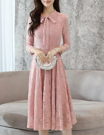 A-Line Long Sleeve Pink Lace Midi Dress