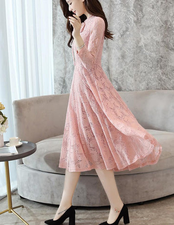 A-Line Long Sleeve Tied Bowknot Pink Lace Midi Dress