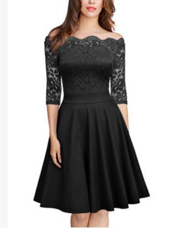 A-Line Off Shoulder Half Sleeve Black Lace Midi Dress