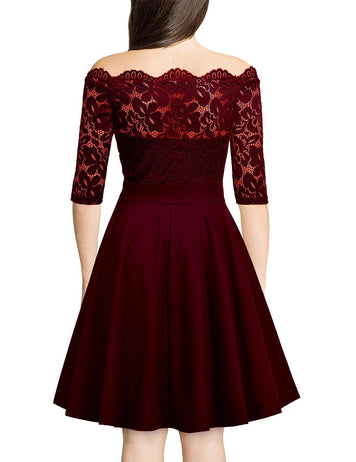A-Line Off Shoulder Half Sleeve Burgundy Lace Midi Dress