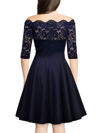 A-Line Off Shoulder Half Sleeve Navy Blue Lace Midi Dress