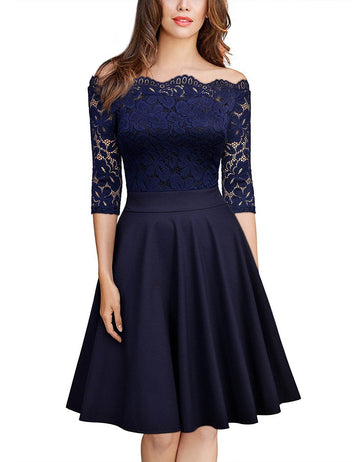A-Line Off Shoulder Half Sleeve Navy Lace Midi Dress
