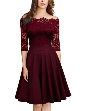 A-Line Off Shoulder Half Sleeve Solid Lace Midi Dress