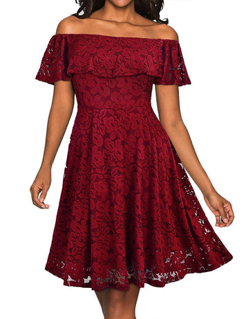 Plus Size A-Line Off Shoulder Solid Lace Party Mini Dress