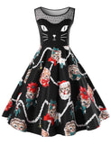 A-Line Round Neck Cute Cats Printed Black Casual Midi Dress
