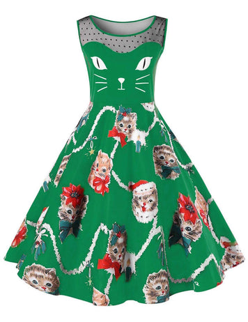A-Line Round Neck Cute Cats Printed Green Casual Midi Dress