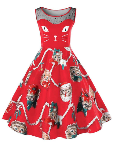 A-Line Round Neck Cute Cats Printed Red Casual Midi Dress