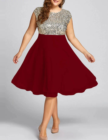 A-Line Round Neck Sleeveless Sequins Stitching Midi Dress