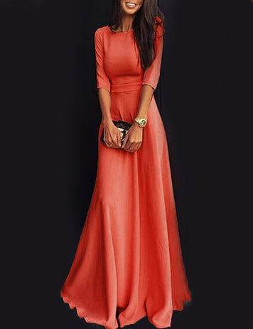 A-Line Seven-Points Sleeves Pleated Solid Maxi Party Dress