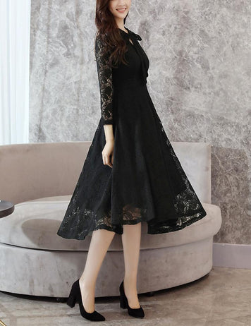 A-Line Tied Bowknot Long Sleeve Black Lace Midi Dress