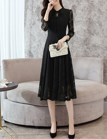 A-Line Tied Bowknot Long Sleeve Solid Color Lace Midi Dress