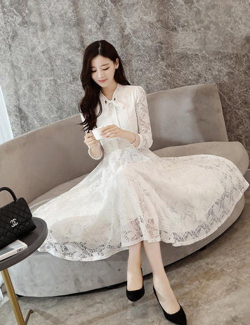 A-Line Tied Bowknot Long Sleeve White Lace Midi Dress
