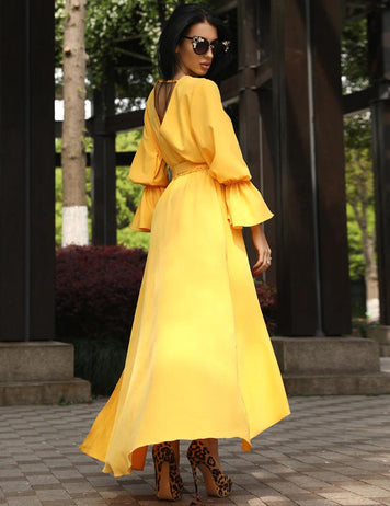 A-Line V-Neck Open Back Yellow Irregular Belt Wrap Maxi Dress