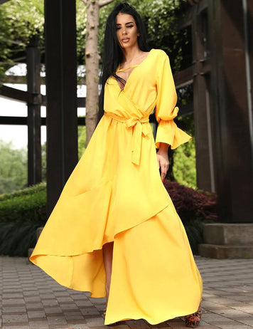 A-Line V-Neck Open Back Yellow Irregular Belted Wrap Maxi Dress