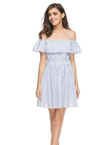 A-line Blue and White Striped Ruffled Off Shoulder Midi Dress
