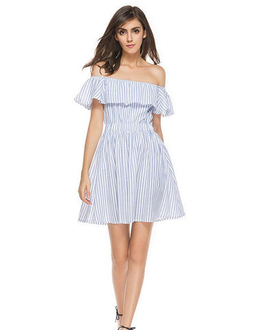 A-line Off Shoulder Blue and White Striped Ruffled Midi Dress