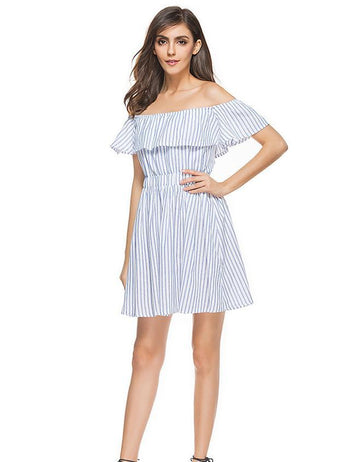 A-line Off Shoulder Ruffled Blue and White Striped Midi Dress