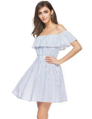 A-line Off the Shoulder Ruffled Blue and White Striped Midi Dress