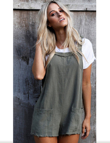 Adjustable One Piece Short Overall Jumpsuit