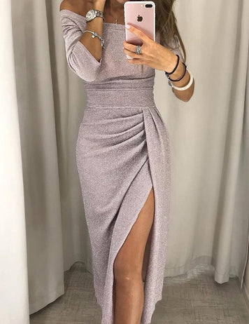 Shiny Off The Shoulder Ruched High Slit Dress