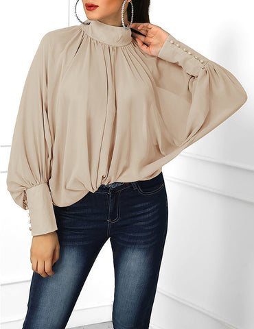 Apricot Pleated Stand Collar Bat Sleeve Loose Chiffon Blouse