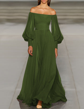 Army Green Chiffon Balloon Sleeve Long Dress