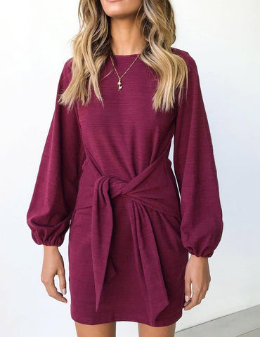 Autumn Bateau Long Sleeve Front Tied Bowknot Mini Dress