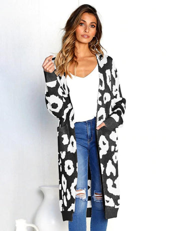 Autumn Long Sleeve Pockets Print Knit Sweater Cardigan