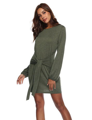 Autumn Boat Long Sleeve Front Tied Bowknot Mini Dress